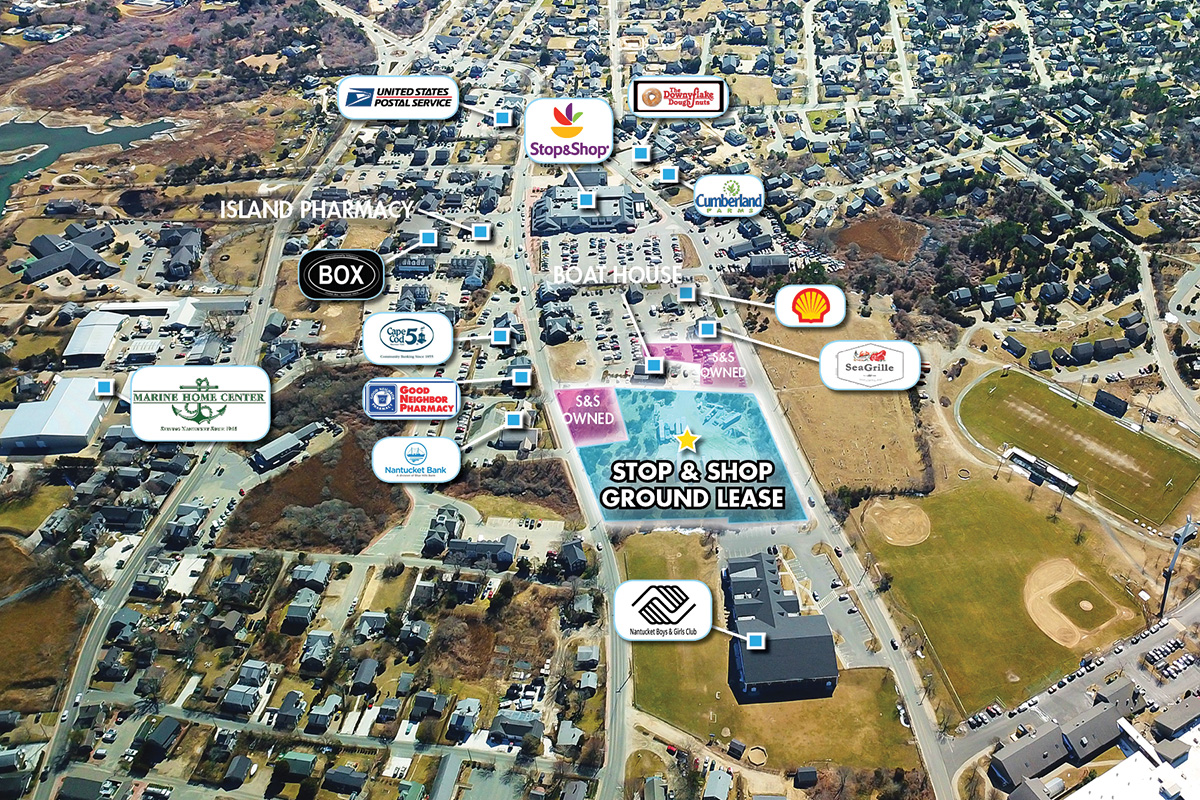 The commercially zoned, 2.3-acre land parcel is ground leased to the Stop & Shop Supermarket Company with over 13 years of term remaining plus twelve, ...
