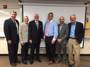 Shown (from left) are: Vance Taylor, chairman CID; Tom Hill III, CCIM/SIOR, representing Naugatuck Industrial Park; Larry Bingaman, president/CEO Regional Water Authority; Damon Ralph, business banker and sponsor from Wells Fargo; Jed Backus, host; and Phil Backus of Backus Real Estate.
